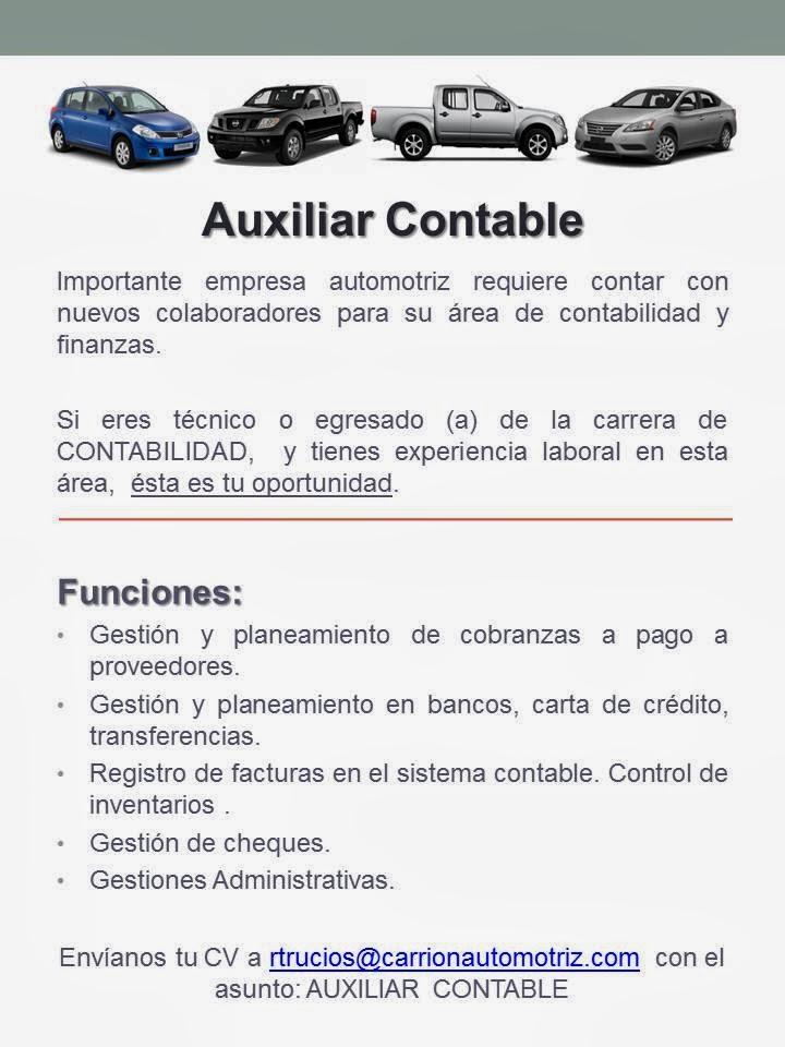 Auxiliar Contable - Oportunidad Laboral en Huanuco - ASISTENTE DE CONTABILIDAD