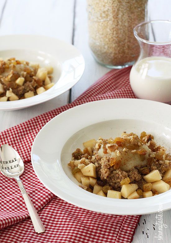 Apples and Cinnamon Breakfast Quinoa –I love a warm bowl of quinoa for breakfast, it reminds me of Farina which I really enjoyed as a child.