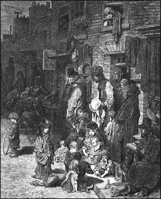 etching of poor in Victorian era begging in the street