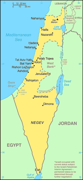 mapa israel actual