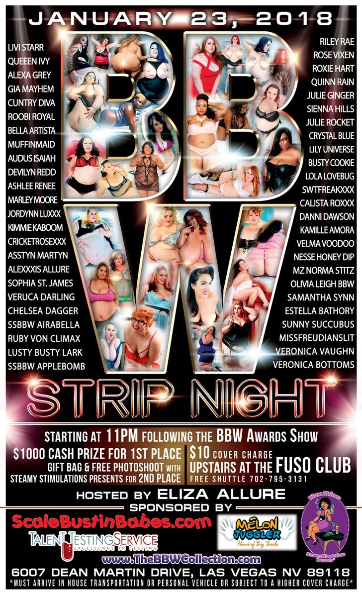 Upcoming BBW Strip Night! January 23, 2018 @11pm