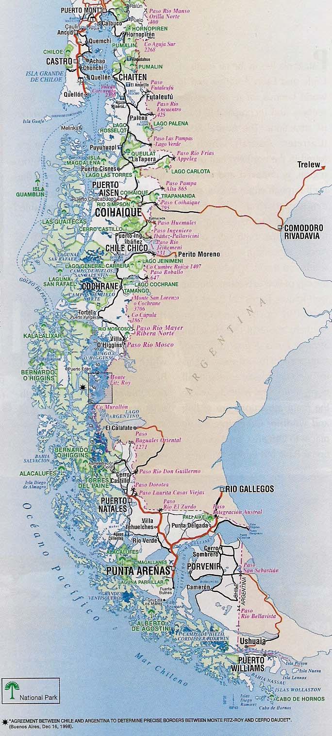 Mapas de chile mapa rutero de chile patagonia sciox Choice Image