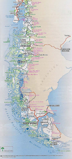 Mapa rutero de chile zona Patagonica
