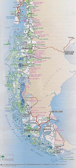 Mapa rutero de chile zona Patagonica