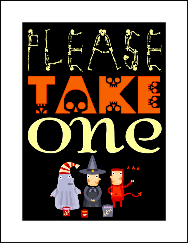 photograph about Please Take One Sign Printable named Enhance: no cost printable Remember to Just take A single Halloween Sweet Indication