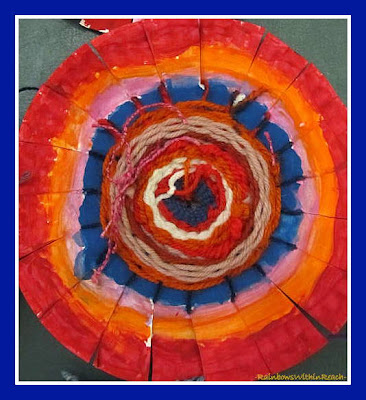 photo of: Concentric Circle Weavings in Elementary School via RainbowsWithinReach