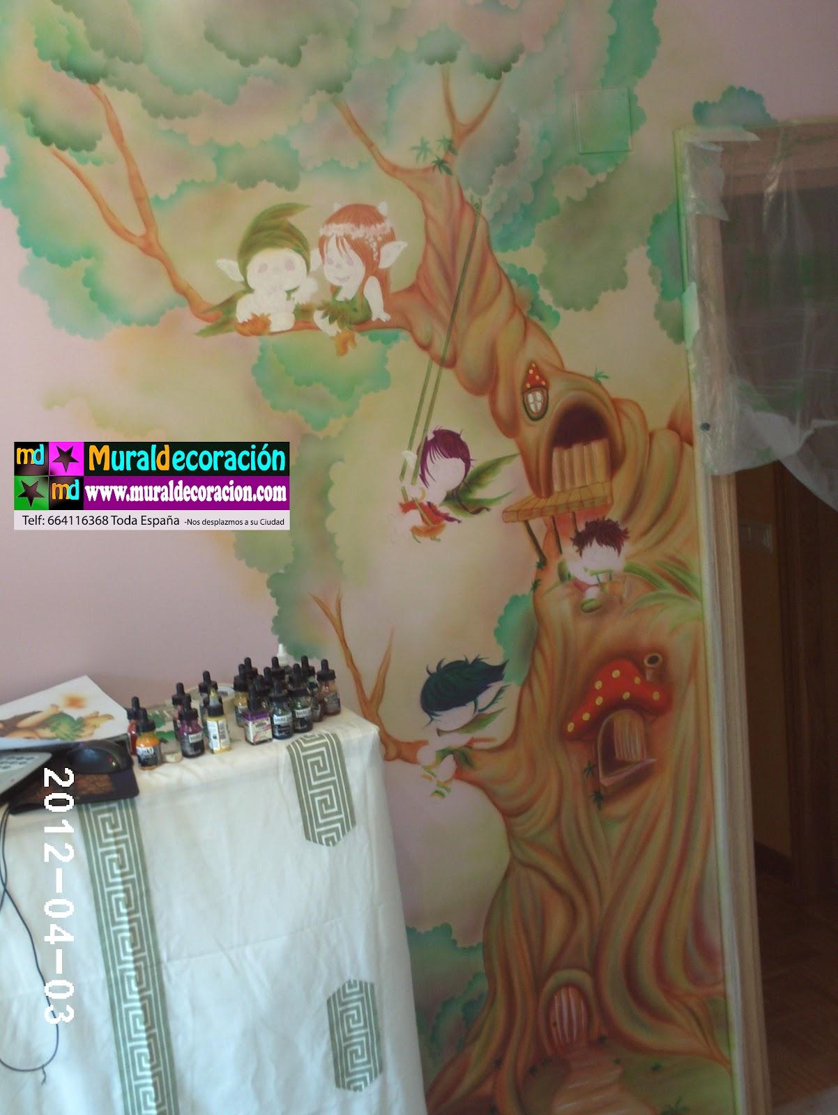 Murales infantiles toread duendes del bosque en mural for Murales infantiles pared