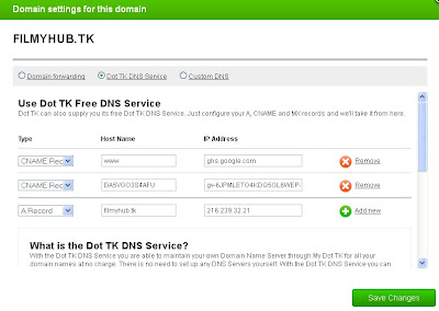 DNS settings in DOT TK