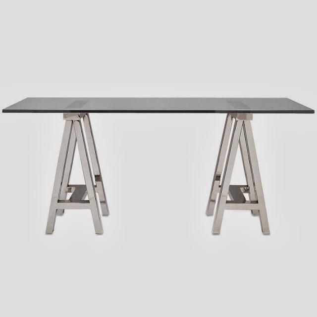 Copy cat chic williams sonoma mason glass top desk