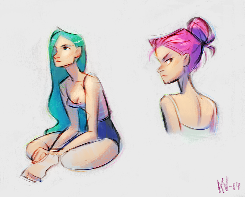 #girl #sketch #illustration #rough #figure #drawing #female #pink #turquoise #hair