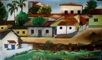 Paisagem em óleo s/ tela  de um trecho do Córrego Botafogo de Goiânia- prêmio de seleção do Banco do Brasil