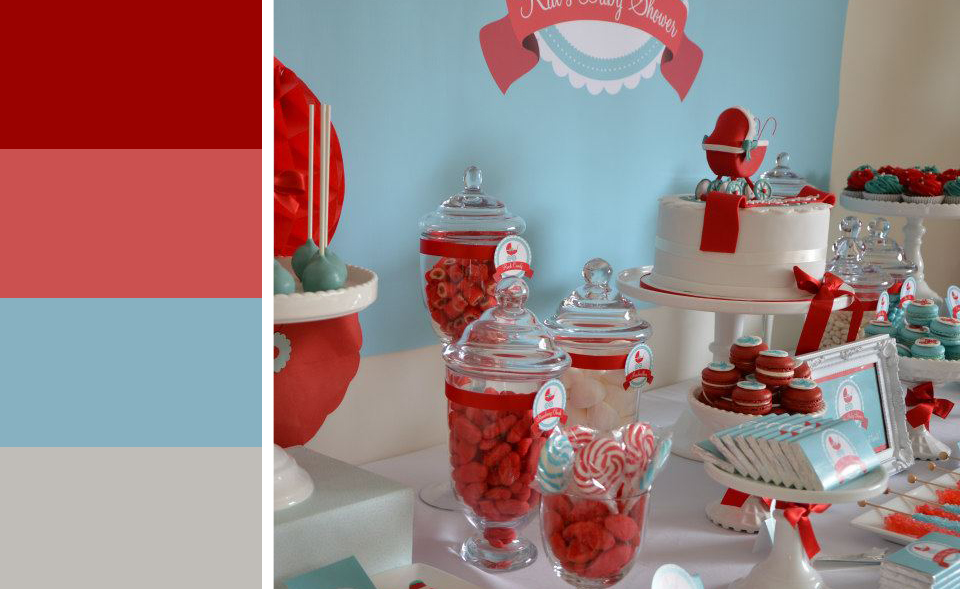 southern blue celebrations red teal baby shower