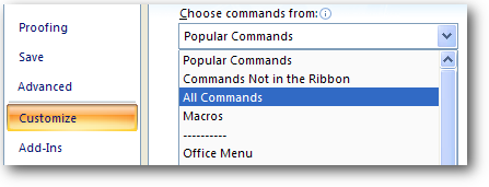 all commands ms excel 2007