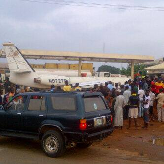 Plane on the street in Lagos