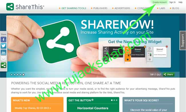Making A Share Or Bookmark Button By Using ShareThis