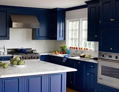 Decoraci n de cocinas en azul - Cocinas azules y blancas ...