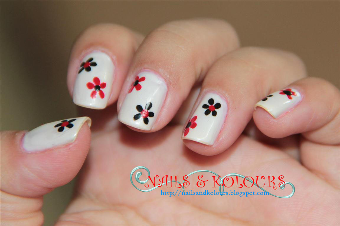Nail Art: Black & Red Flowers ~ JanzCrystalz Handcrafts