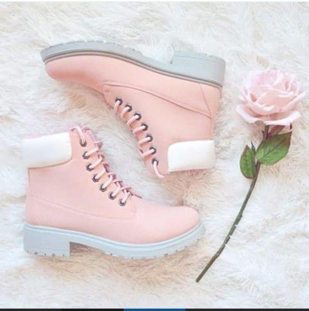 Desejo do dia - Botas Timberland cor de rosa e cinzento