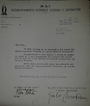 Lettera nomina Guardia al Labaro 1954