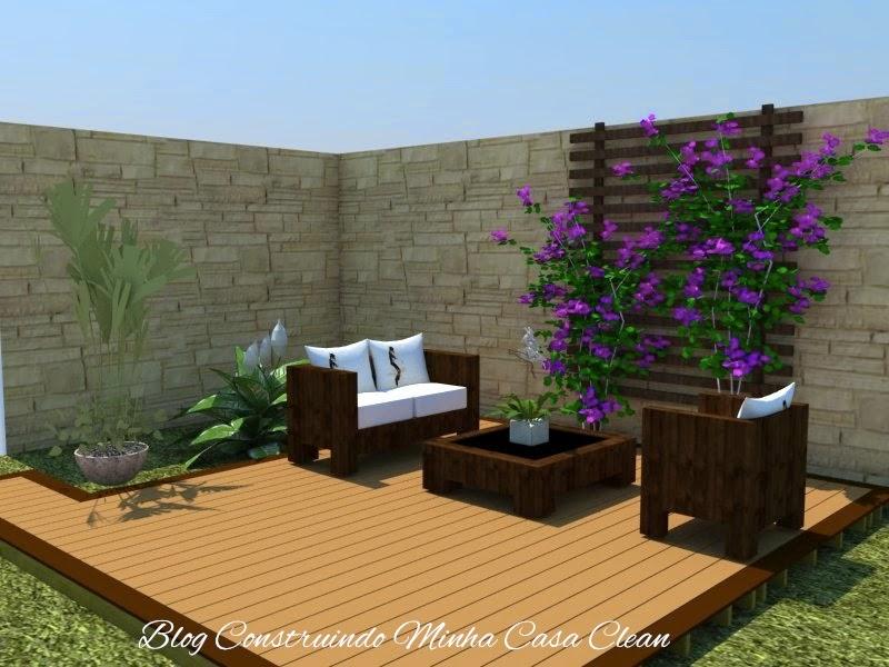 jardim deck de madeira:25- Deck de madeira com jardim vertical e separando a churrasqueira do