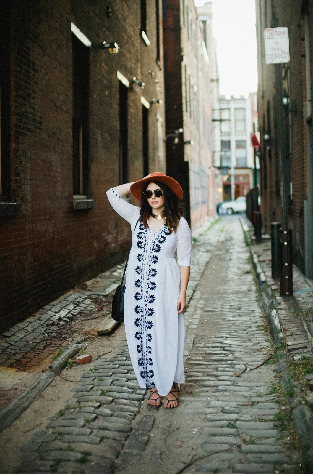 white, embroidered, maxi, dress, felt, hat, Warby, Parker, sunnies,