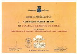 "El Xoriç de  Porté-Estop ""Medalla d´or 2013"""