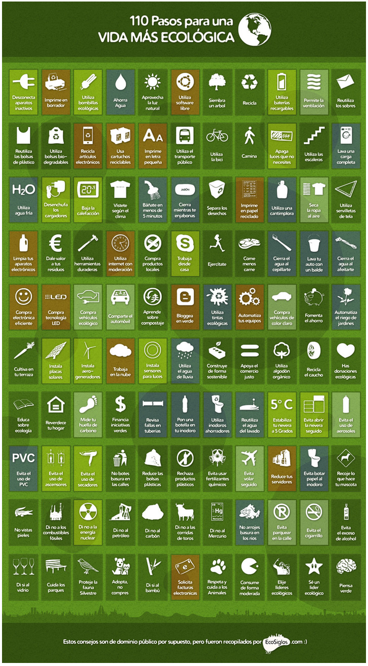 Infografia para tener una vida mas ecologica