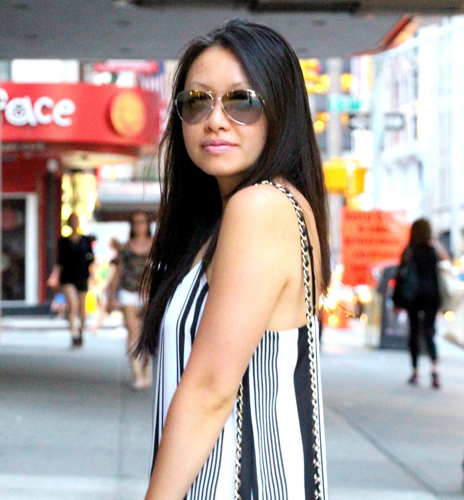 Forever 21 black and white striped maxi dress