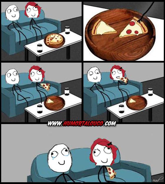 Tirinha Meme: Comendo pizza com a namorada
