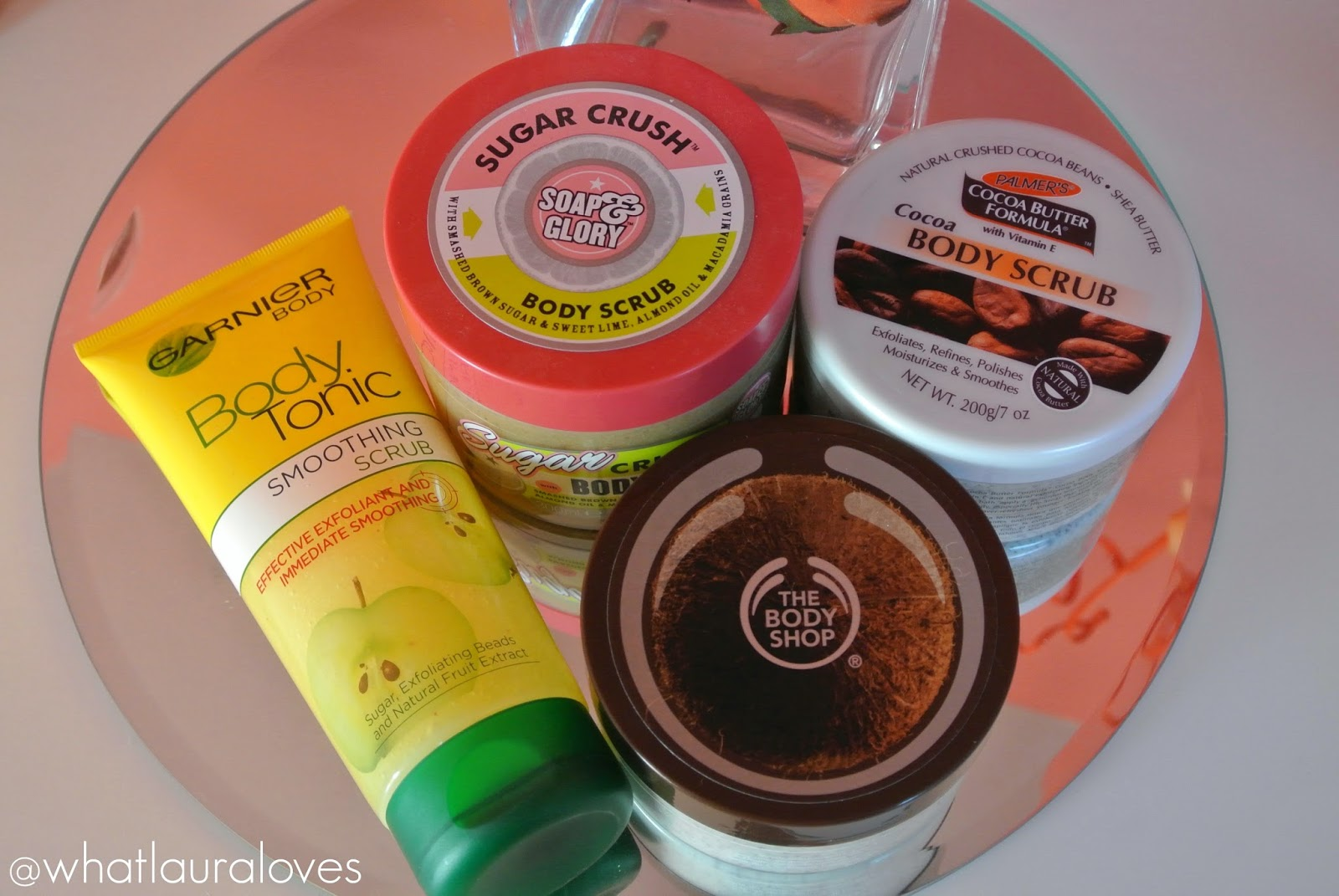 Soap and Glory, Garnier, The Body Shop, Palmers Cocoa Butter, Affordable Drugstore Body Scrubs Exfoliators