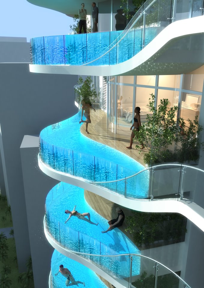 Stories etc apartment block with balcony pools in mumbai for Pool apartments