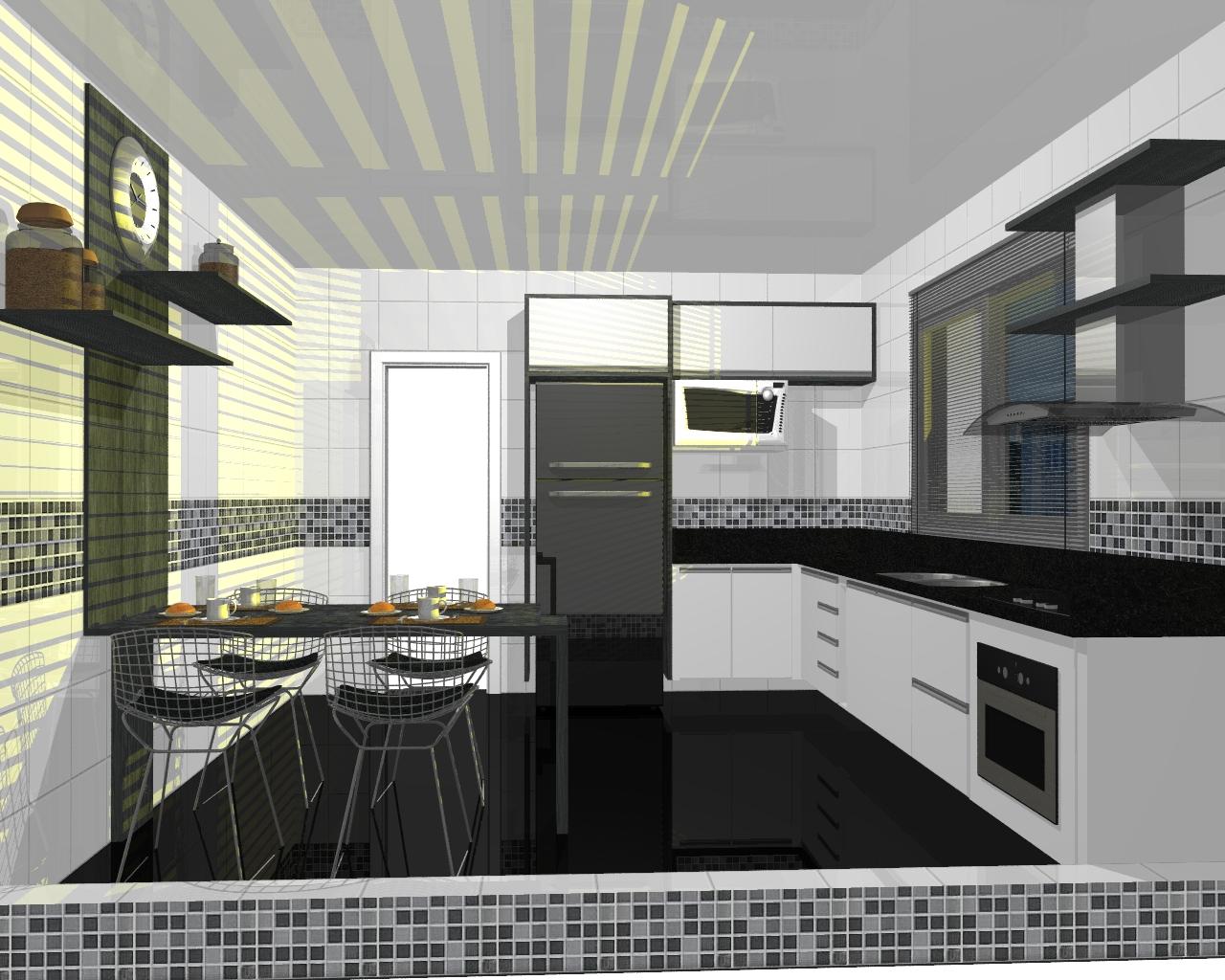 Cozinha com uma visão mais moderna com gavetões torre e ilha. #604C2E 1280 1024