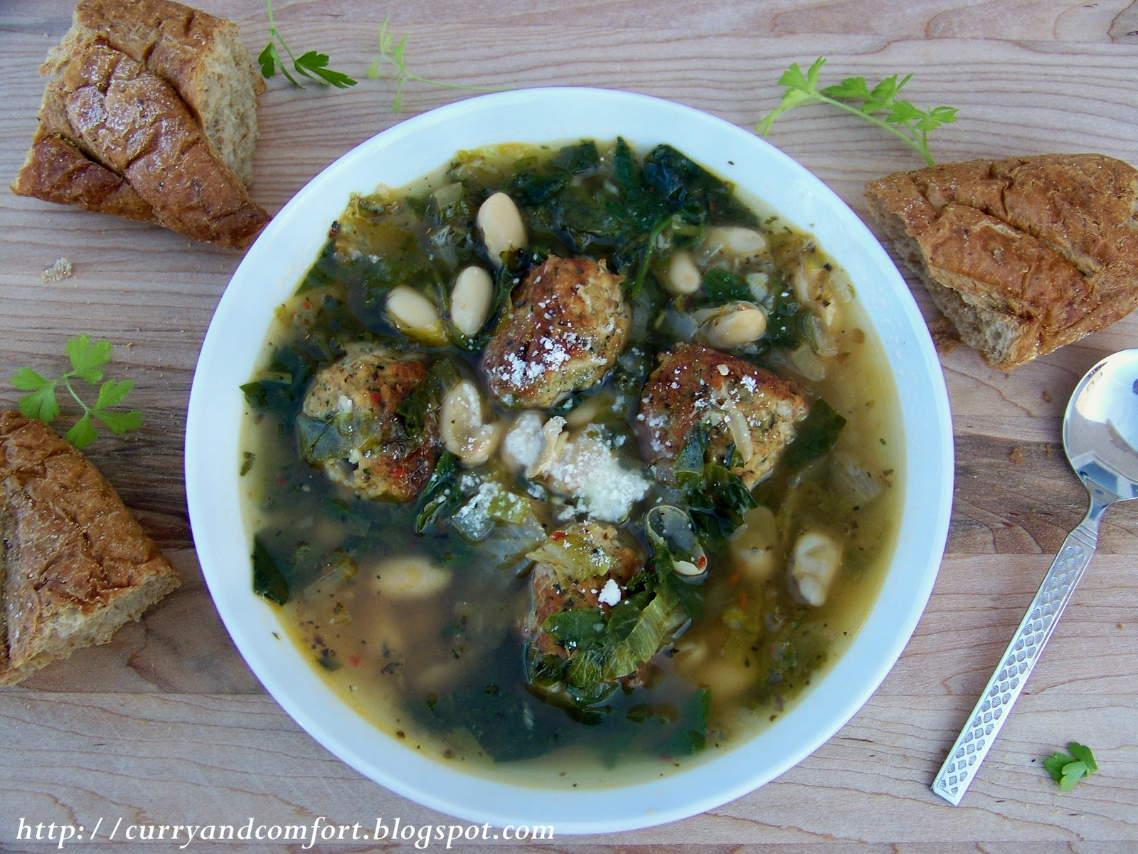 Curry and Comfort: Italian Escarole, Bean and Meatball Soup