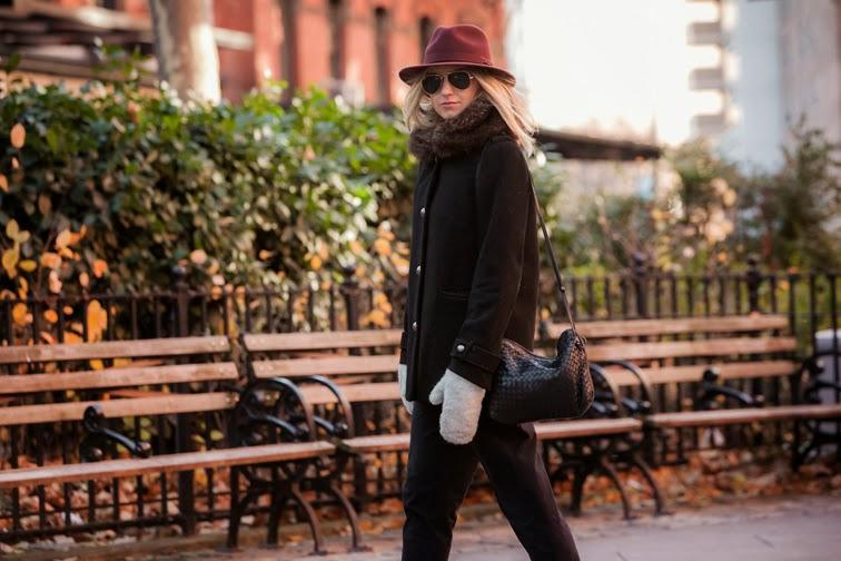 Joe Fresh boyfriend coat NYC park by Ian Rusiana