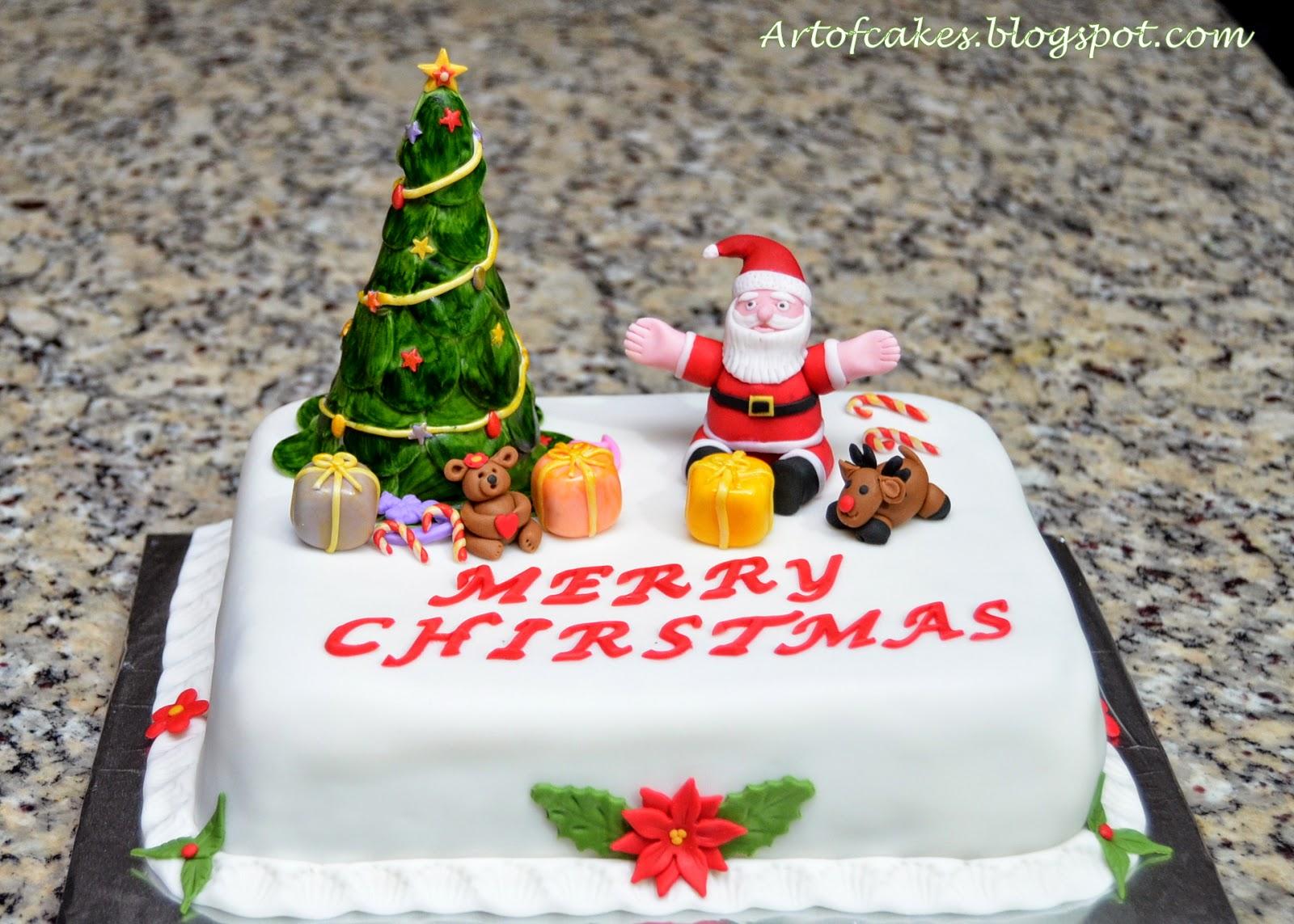 Fondant Christmas Cake with Santa & Christmas tree