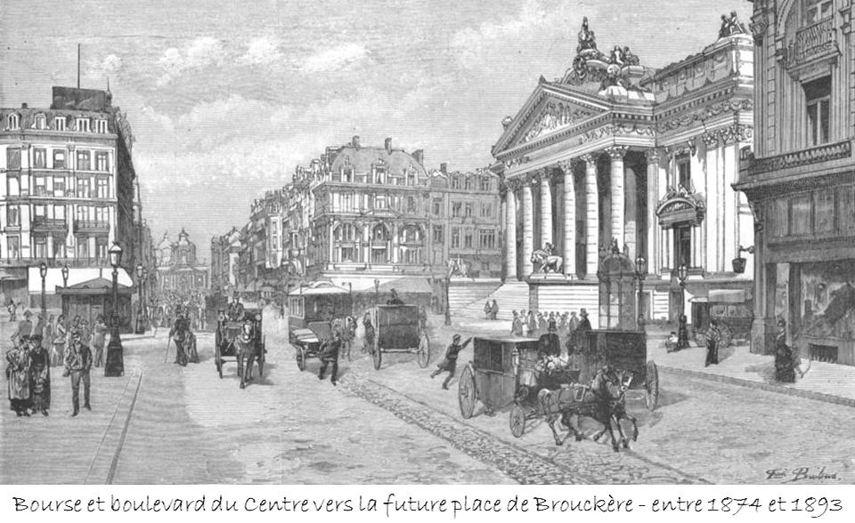 Boulevard du centre (Actuel boulevard Anspach) - Vue de la Bourse vers la future place de Brouckère encore occupée par le Temple des Augustins  (entre 1874 et 1893) - Bruxelles-Bruxellons