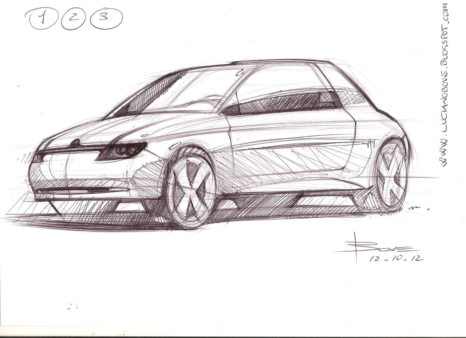 3/4 car sketch tutorial in 3 steps by Luciano Bove – www.lucianobove.com