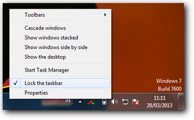 Unlock taskbar desktop