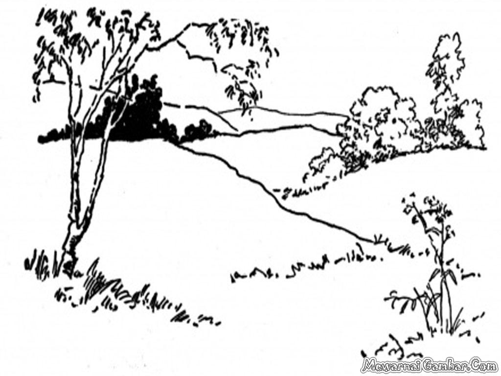 gambar pemandangan alam hitam putih