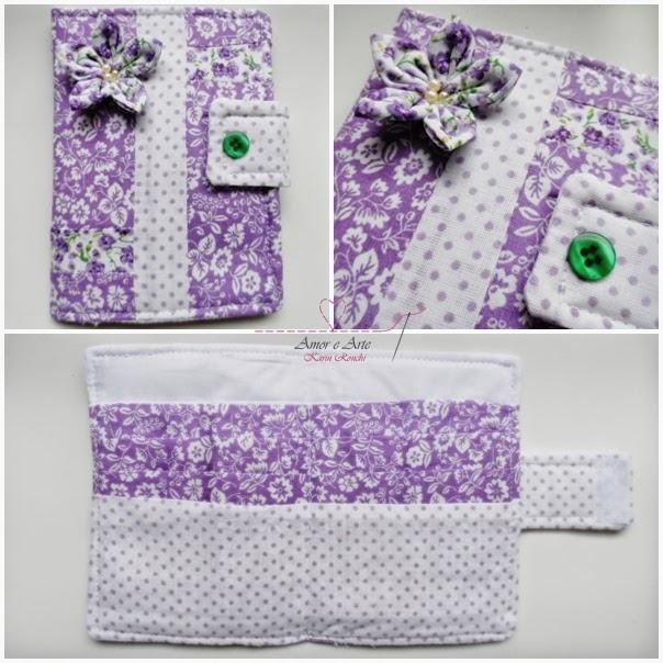 Carteira em tecido - Lilás Flor 1 - poá e floral