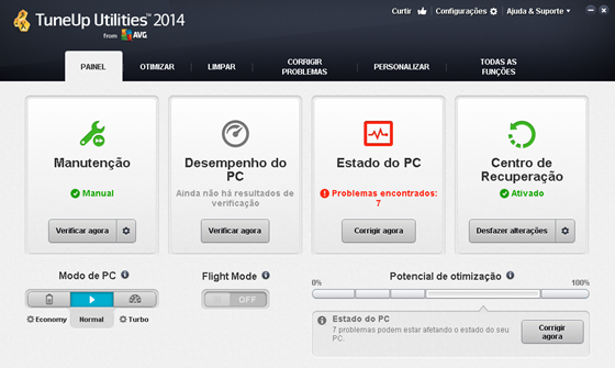 Interface princicpal do TuneUp Utilities 2014 - 560x335