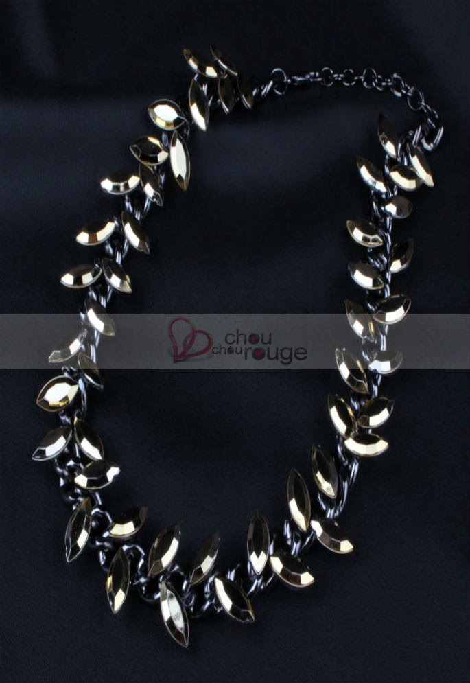Collier fantaisi en pierres ors semi-precieuses - Chouchourouge