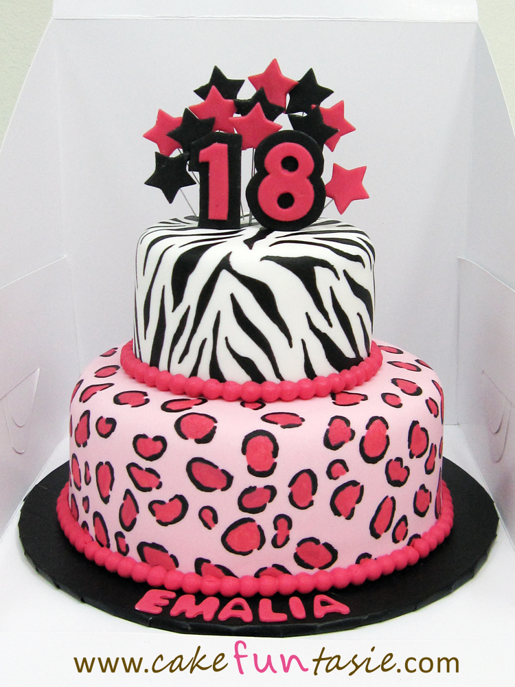 Animal Print Cake Pictures : Cake Funtasie: Hot Pink Animal Print 2 Tier Cake