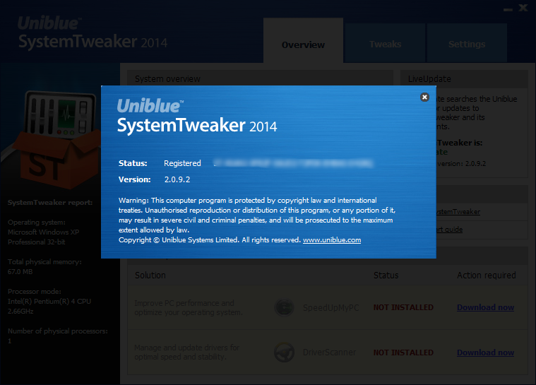Uniblue SystemTweaker 2014 v2.0.9 Full Serial Key