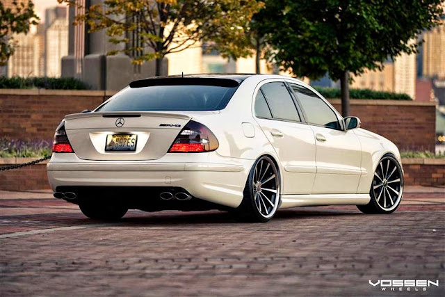 Mercedes Benz E500 White W211 On Vossen Wheels Benztuning