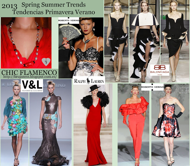 Chic Flamenco on Fashion shows Spring Summer 2013/ Tendencia Chic Flamenco en la pasarela Primavera verano 2013, Ralph Lauren, hat, sombrero, earrings, jacket, chaqueta, striped, a rallas, rallas, dress, vestido, blue, azul, long, necklace, collar, largo, earrings, pendientes, blusa, blouse, print, estampado, dots, puntos, topos, ruffles, volantes, red, rojo, Victorio & Lucchinoi, roverto verino, emilio de la morena, Spanish, español