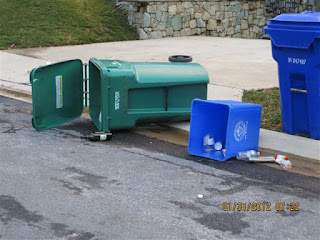Tipped-over cart and bin with recyclables in the street