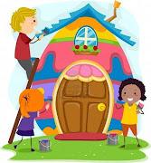 . hará daño. 2,- Que el hogar es hogar así vivas en un . ilustracion de los ninos de torneado de una casa en un huevo de pascua