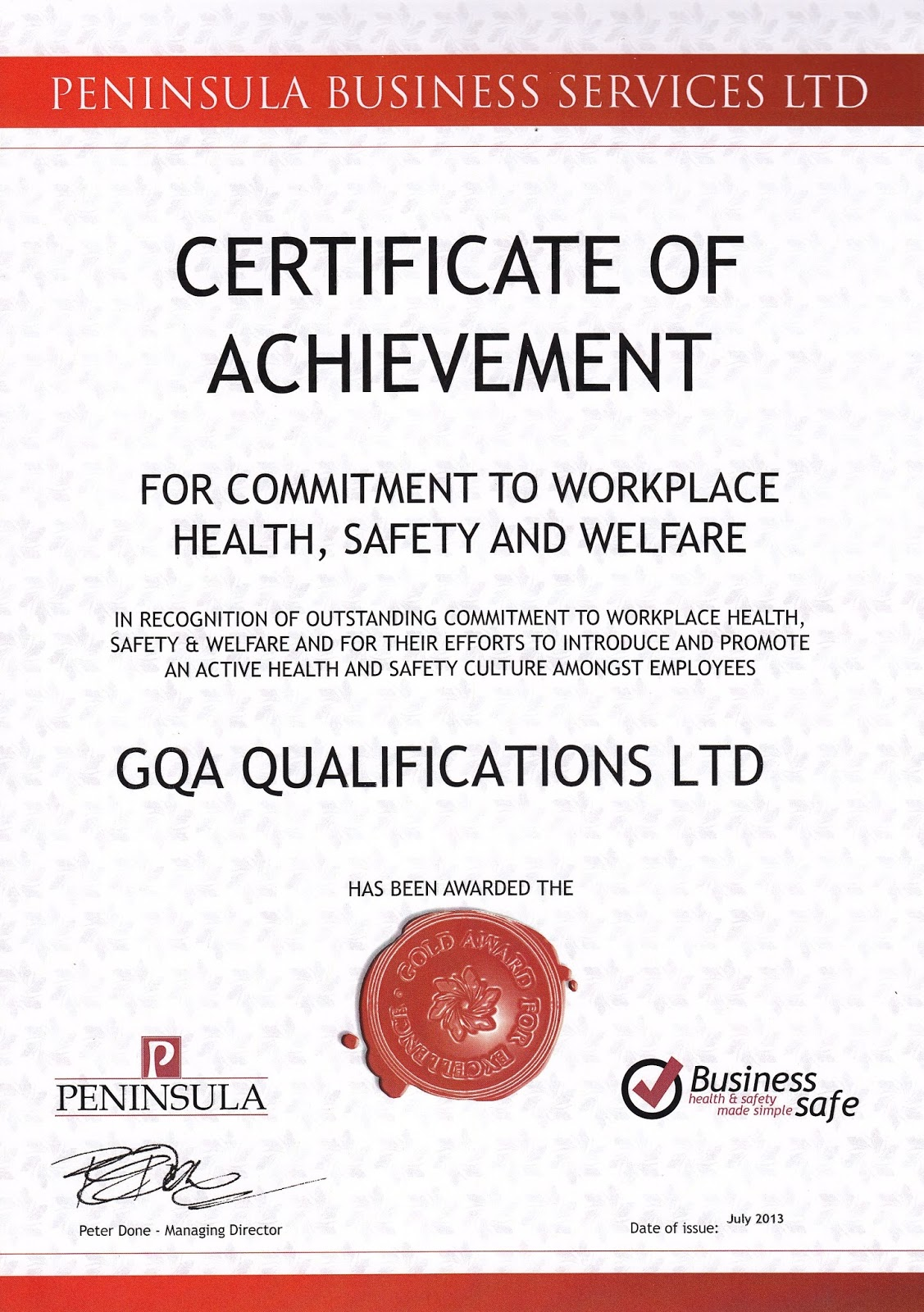 Gqa qualifications gqa receives certificate of achievement for working with peninsula business services we carried out a full review of all aspects of health and safety writing new risk assessments and updating 1betcityfo Gallery