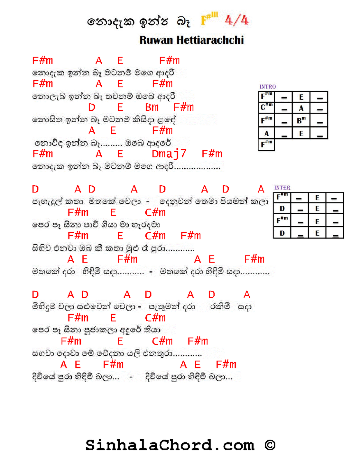 Nodaka Inna Ba Guitar Chords Sinhala Guitar Chordssinhala Songs